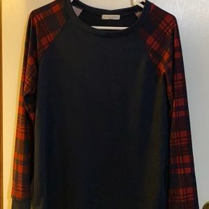 Navy blue and red long sleeve shirt